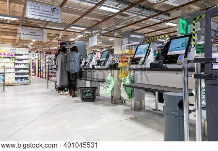 Samara, Russia - October 8, 2020: Self-checkout Counters In The Perekrestok Superstore