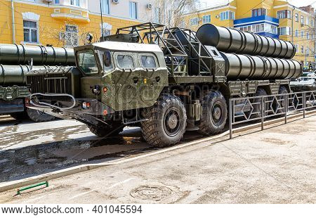 Samara, Russia - May 5, 2018: Russian Anti-aircraft Missile System (sam) S-300 On The City Street