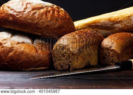 Fresh Crispy Bread. Bread Counter At The Bakery. Village Bakery.