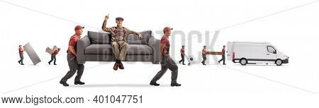 Movers carrying a couch with a cheerful elderly man pointing up and other movers loading a van isolated on white background