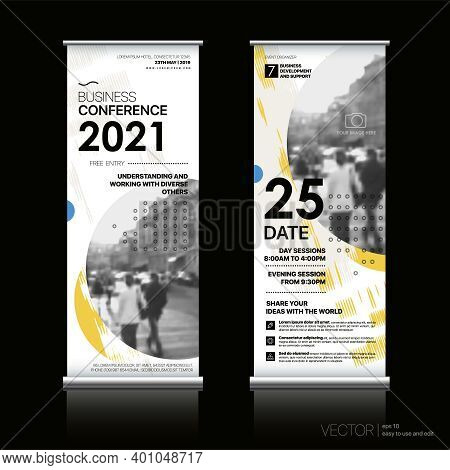 Vertical Banner Design Signboard Advertising Brochure Flyer Template Vector X-banner And Street Busi