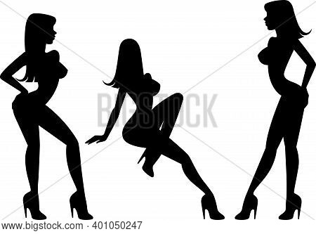 Set Of Silhouettes Of A Girl Stripper In Different Poses Vector Illustration