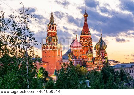 Cathedral Of Vasily The Blessed (saint Basil's Cathedral) And Spasskaya Tower Of Moscow Kremlin On R