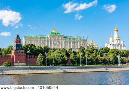 Moscow Kremlin With Grand Kremlin Palace And Ivan The Great Bell Tower, Russia