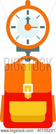 Flat Vector Illustration Of Scales Weigh Travel Backpack
