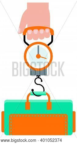 Man Hand Holds The Scales For Weighing Luggage And Tourist Bag Vector Illustration