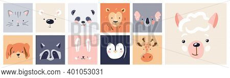Cute Animal Baby Face Posters Set Vector Illustration. Hand Drawn Nursery Character Card Collection