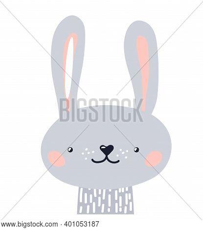 Rabbit Cute Animal Baby Face Vector Illustration. Hand Drawn Style Nursery Character. Scandinavian F