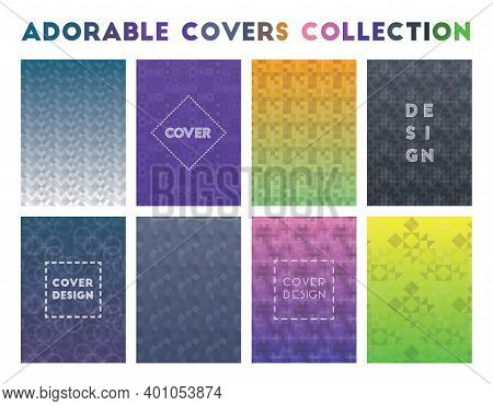 Adorable Covers Collection. Actual Geometric Patterns, Extraordinary Vector Illustration.