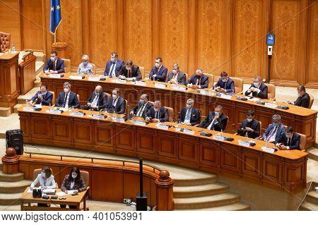 Bucharest, Romania - December 23, 2020: Florin Citu The New Romanian Prime Minister, Attend The Parl