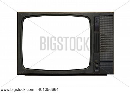 Vintage, Retro Black Old Television Isolated On White Background. The Old Tv On The Isolated White B