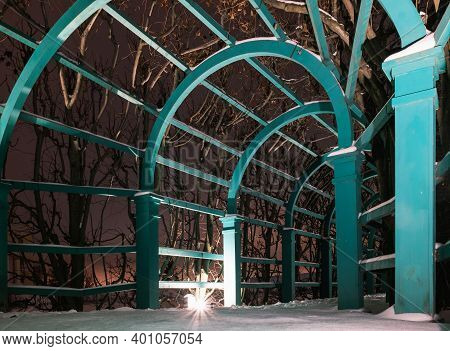 Wooden Arcade Entwined With Trees. Night Path In The Park. Winter Path In The Park. Russian Manor Pa