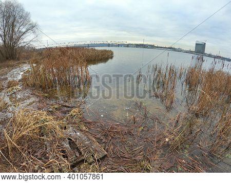 View of the winter Dnepr river in Kiev