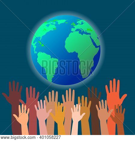 Group Of Hands Of Different Colors And Globe. People Of The World, Cultural And Ethnic Diversity. Sa