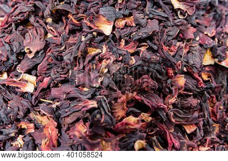 Close Up Dried Colorful Hibiscus Petals At Turkish Market