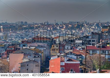 Red Tiled Roofs Of Istanbul Overlooking The Blue Mosque And The Suleymani Mosque