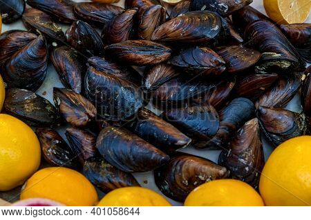 Close-up Of Freshly Caught Mussels In The Turkish Market Ready To Cook