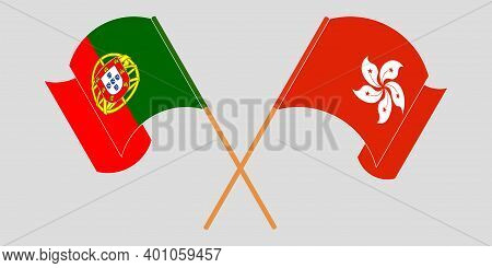 Crossed And Waving Flags Of Hong Kong And Portugal. Vector Illustration