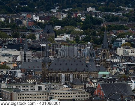 Aachener Dom Cathedral Seen From Lousberg In Aachen North Rhine-westphalia In Germany