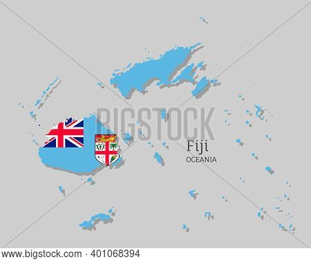 Map Of Fiji With National Flag. Highly Detailed Editable Map Of Oceania Country Territory Borders. P