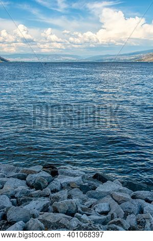 Okanagan Lake Overview On A Bright Summer Day