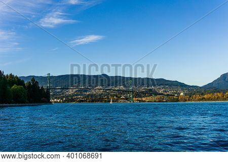 Vancouver, Canada - October 27, 2019: Vancouver Harbour With Lions Gate Bridge Between Vancouver And