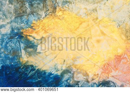 Art Abstract acrylic color and gold patal smear blot painting. Horizontal texture canvas background.