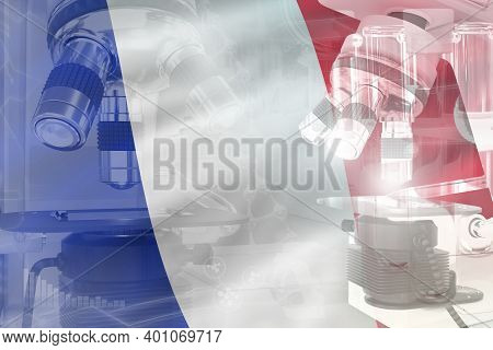France Science Development Conceptual Background - Microscope On Flag. Research In Biochemistry Or C
