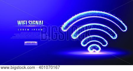 Wifi Signal, Low Poly Wireframe Vector Illustration