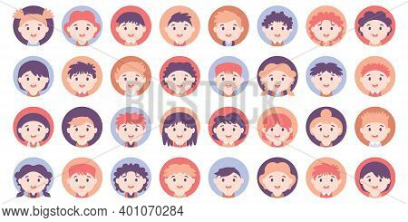 People Avatar Big Bundle Set. American Teens And Kids Various Avatar. Collection Of Schoolboy And Sc