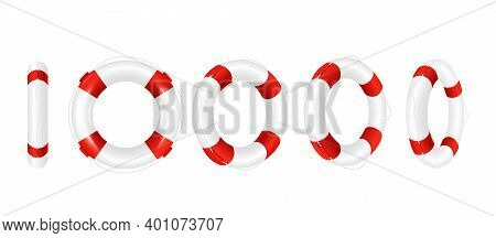 Rescue Life Buoy In Turn, Set Of Realistic Vector Illustrations Isolated.