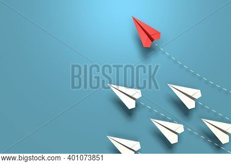 Red Paper Origami Plane Have Individual Direction From Unique White Planes In Different Way On Blue
