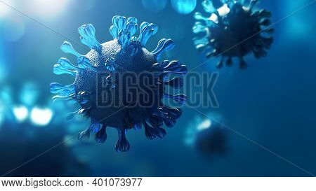 Super Closeup Coronavirus Covid-19 In Human Lung Background. Science Micro Biology Concept. Blue Cor
