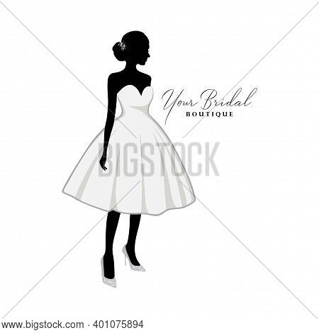Beautiful Bride Short Gown, Bridal Boutique Logo, Bridesmaid Gown Logo Vector Design Template
