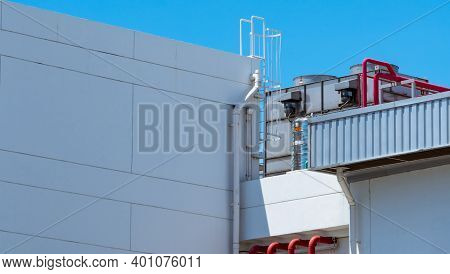 Cooling Tower On Roof Top Of Building. Industrial Air Cooling System. Air Chiller. Unit Of Air Condi