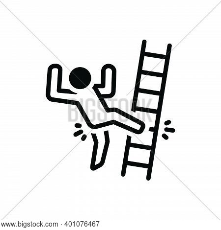 Black Solid Icon For Slip Slip-and-fall Fall Injury Mistake Ladder Tripping-on-stairs Accident