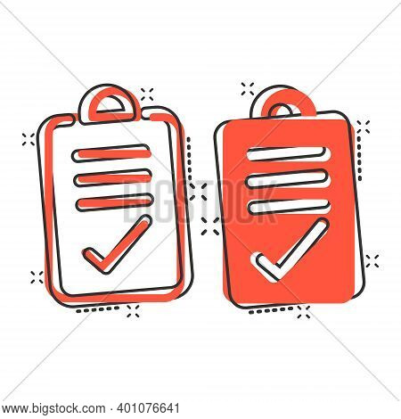 Document Checkbox Icon In Comic Style. Test Cartoon Vector Illustration On White Isolated Background