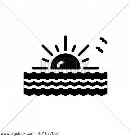Black Solid Icon For Arise Appear Begin Originate Morning Cloudscape Sunrise Evening Nature