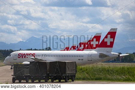 DUEBENDORF - May 24:  Swiss airlines grounding the airplanes on the military airfield Duebrndorf. Due to Coronavirus (COVID-19) outbreak airlines are forced to cancel most of the flights.