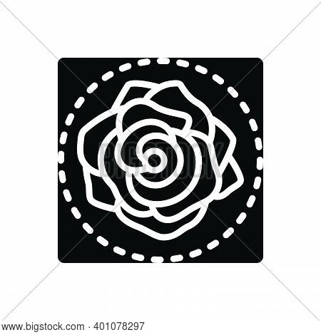 Black Solid Icon For Rose Rosa Petals Nature Symbol-of-love Bouquet Love Romantic Horticulture Decor