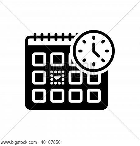 Black Solid Icon For Appoint Agenda Day Month Calendar Appointment Checkmark Time Reminder Timer