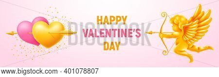 Valentines Day Festive Banner. Couple Of Golden And Pink Hearts Pierced By Arrow And Figurine Of Sho