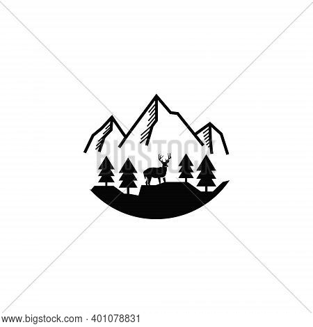 Outline Mountain Logo With A Slight Forest Accent With Its Deer.