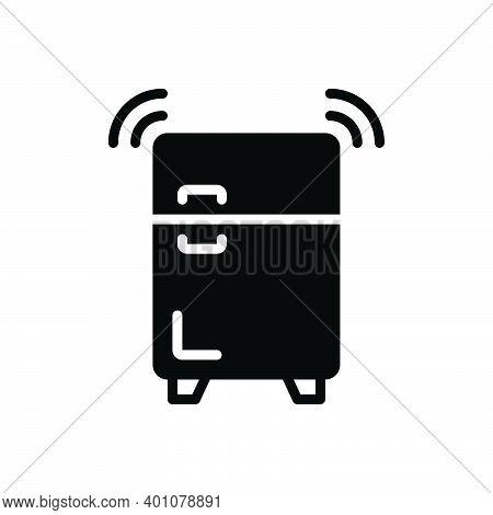Black Solid Icon For Refrigerator Coolness Freezer Fridge Storage Stock Stockpile Storehouse Keeping