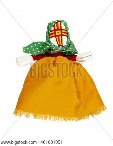 Traditional Russian Fabric Doll. A Doll In An Orange Dress And A Green Scarf. Home Amulet And Childr