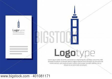 Blue Skyscraper Icon Isolated On White Background. Metropolis Architecture Panoramic Landscape. Logo