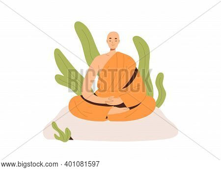 Peaceful Buddhist Monk In Robe Meditating In Lotus Posture With Closed Eyes. Meditation And Yoga Pra