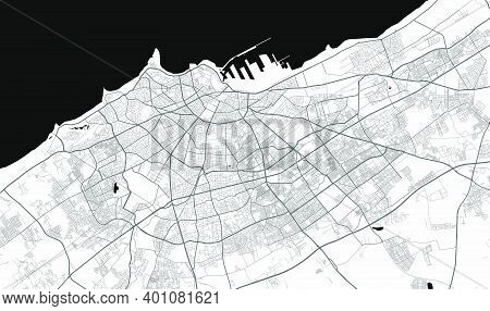 Urban City Map Of Tunis. Vector Illustration, Casablanca Map Grayscale Art Poster. Street Map Image