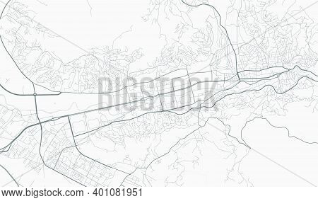 Urban City Map Of Sarajevo. Vector Illustration, Sarajevo Map Grayscale Art Poster. Street Map Image