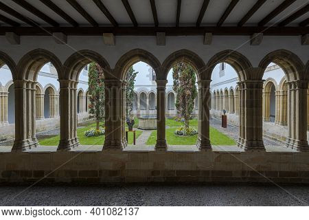 Bermeo, Spain - August 17, 2017: Cloister Of The Convent Of San Francisco, Bermeo, Spain. It Is One